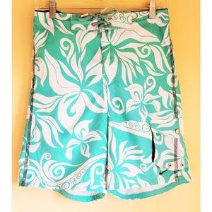 Nike Swim Trunks Aqua Tropical Print